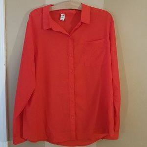 Old navy red button down top size xl